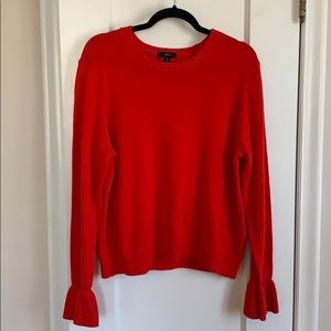 JCrew red sweater with ruffle sleeve detail XL